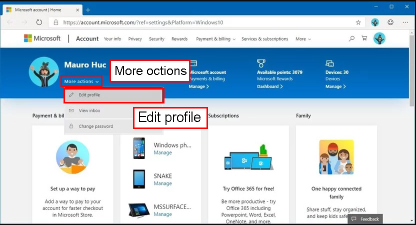 گزینه Edit profile option را انتخاب کنید.