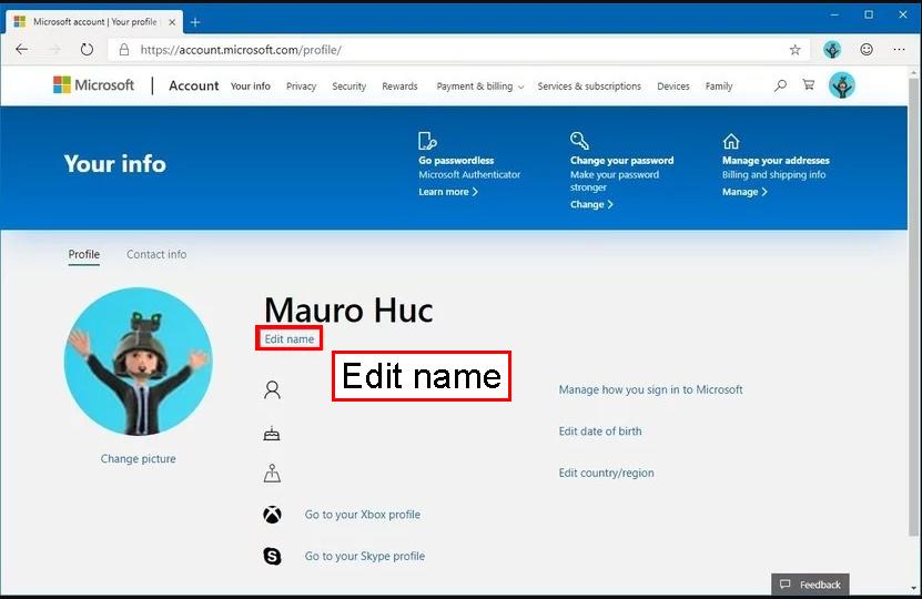 در زیر نام حساب فعلی ، بر روی گزینه Edit name کلیک کنید.