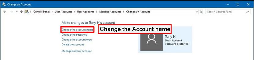 بر روی گزینه Change the Account name کلیک کنید.