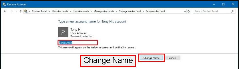 روی دکمه Change Name کلیک کنید.