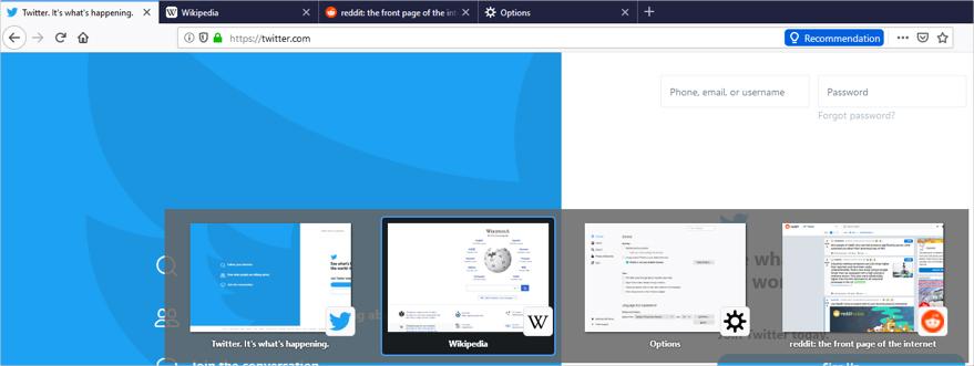 پیمایش و حرکت در بین زبانههای فایرفاکس