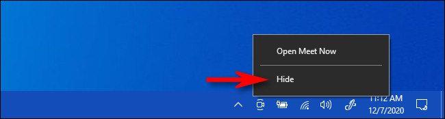 غیر فعال کردن آیکون meet now روی ویندوز 10