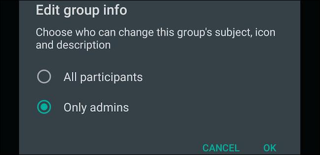دستکاری مشخصات در گروه واتساپ